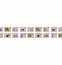 Esoteric magic postage stamps hand drawn seamless vector