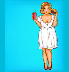 Fat obese blonde woman obesity from fast vector