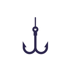 Fishing hook with line icon on white vector