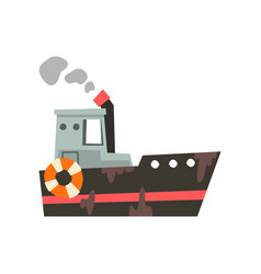 Fishing vessel ship for seafood production retro vector