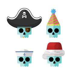 flat skulls in funny costume hats gr vector image