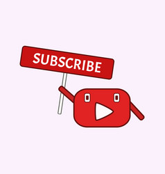 Funny mascot youtube channel subscribe button vector