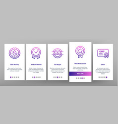 Gmp certified mark onboarding icons set vector