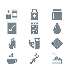 Gray icon set gastronomy vector