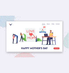 Happy mother day landing page template tiny child vector