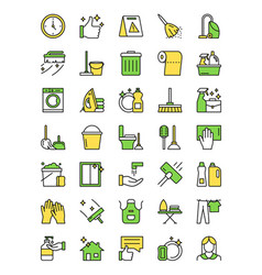 icon set cleaning service vector image