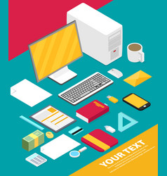 Isometric art creative office workplace vector