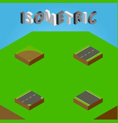 Isometric way set of without strip driveway vector