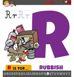 Letter r worksheet with cartoon rubbish vector