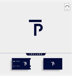 Letter tp pt t p logo design simple vector