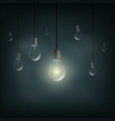 Light bulb is lit in dark vector