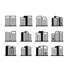 line icons buildings and company set on white vector image
