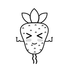line kawaii cute funny strawberry fruit vector image