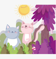 little cat and pink cat cartoon character forest vector image