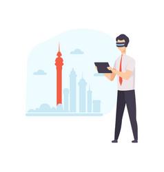 man wearing virtual reality digital glasses using vector image