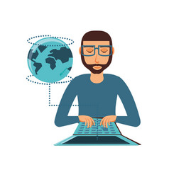man with laptop and planet earth vector image