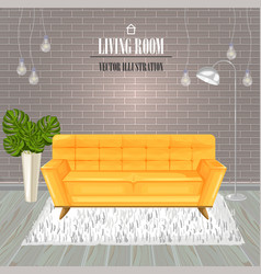 modern living room yellow sofa watercolor vector image