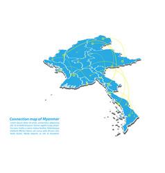 Modern myanmar map connections network design vector