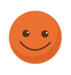 Orange smile emoticon button icon vector