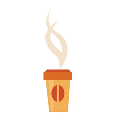 paper cup tasty hot coffee with cover and steam vector image