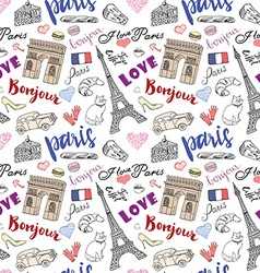 Paris seamless pattern with Hand drawn sketch vector image