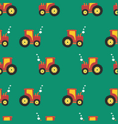 pattern tractor repeating kids background vector image