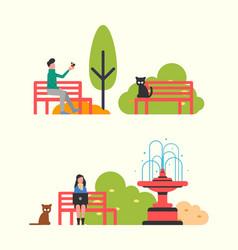 people sitting on bench in city park autumn season vector image