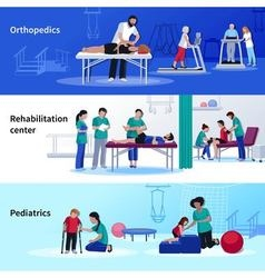Physiotherapy Rehabilitation 3 Flat Horizontal vector
