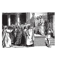 pilate brings jesus before people vintage vector image