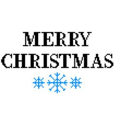 pixel merry christmas text detailed isolated vector image