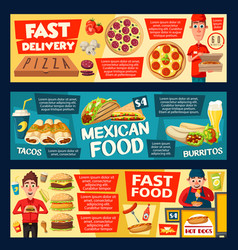 Pizza delivery and fastfood burgers vector