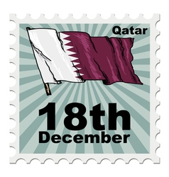 Post stamp of national day of Qatar vector