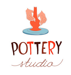 Pottery studio traditional making hands vector