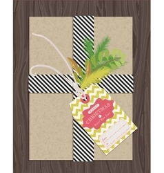 Present package wrapped with gift tag vector