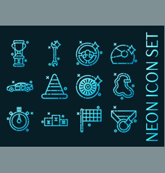 racing set icons blue glowing neon style vector image