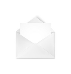 realistic empty open white envelope with note for vector image