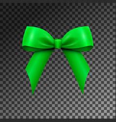 Realistic shiny green satin bow isolated vector