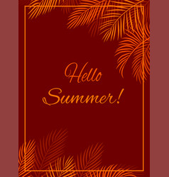 red background hello summer vector image