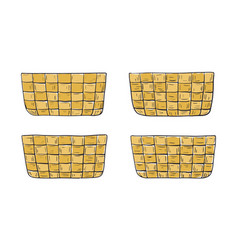 Set empty hand-drawn baskets vector