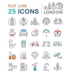 Set Flat Line Icons London and UK vector