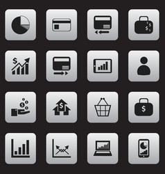 Set of 16 editable statistic icons includes vector