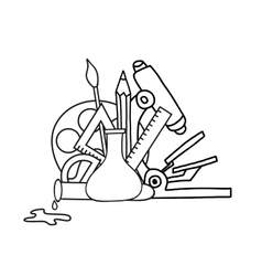 Set of doodle school icons vector