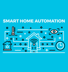 smart home automation banner outline style vector image