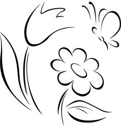 Spring flower outline vector