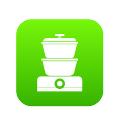 Steamer icon digital green vector