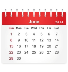 Stylish calendar page for June 2014 vector image