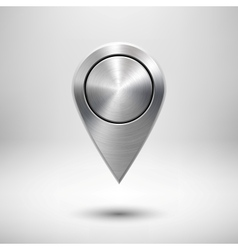 Technology Map Pointer Button with Metal Texture vector image