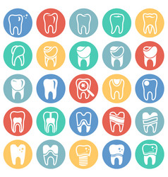 tooth icon set on color circles background for vector image