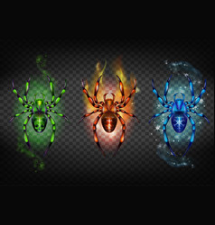 Toxic igniting and freezing spiders set vector