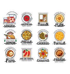 traditional spanish cuisine food dishes bar menu vector image